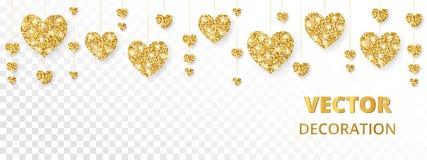 Struttura dorata dei cuori, confine Scintillio di vettore isolato su bianco Per carte di giorno di madri e del biglietto di S. Va illustrazione vettoriale