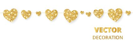 Struttura dorata dei cuori, confine senza cuciture Scintillio di vettore isolato su bianco Per la decorazione del giorno di madri royalty illustrazione gratis