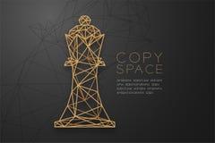 Struttura dorata della struttura del poligono del wireframe di re di scacchi, illustrazione di progettazione di massima di strate Fotografia Stock