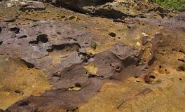 Struttura e colore di una pietra sulla costa di mare Fotografie Stock