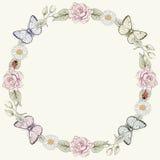 Struttura e farfalle floreali nello stile dell'incisione immagini stock libere da diritti