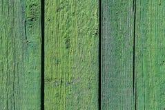Struttura e fondo di vecchio recinto di legno verde Fotografie Stock Libere da Diritti