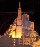 Struttura ed astronauta del lancio di Rocket fotografia stock libera da diritti
