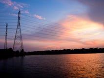 Struttura elettrica ad alta tensione del palo Immagini Stock