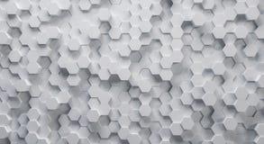 Struttura esagonale bianca tecnica del fondo 3D immagini stock libere da diritti