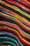 Struttura fatta a mano multicolore della coperta Fotografie Stock