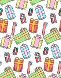 Struttura festiva senza cuciture con i contenitori di regalo lineari su un fondo bianco Immagini Stock Libere da Diritti