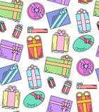 Struttura festiva senza cuciture con i contenitori di regalo lineari su un fondo bianco Fotografie Stock