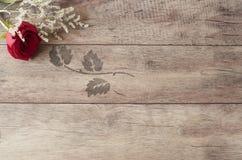 Struttura floreale con la rosa rossa sbalorditiva su fondo di legno Copi lo spazio Nozze, carta di regalo, valentine& x27; giorno Fotografia Stock