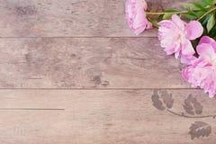 Struttura floreale con le peonie rosa su fondo di legno Fotografia commercializzante disegnata Copi lo spazio Nozze, carta di reg Fotografia Stock