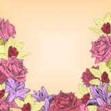 Struttura floreale con le rose, i gigli e le orchidee illustrazione di stock