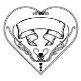 Struttura floreale d'annata in bianco e nero Progettazione di Art Nouveau Illustrazione di vettore forma del cervo maschio illustrazione vettoriale