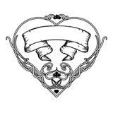 Struttura floreale d'annata in bianco e nero Progettazione di Art Nouveau Illustrazione di vettore forma del cervo maschio illustrazione di stock