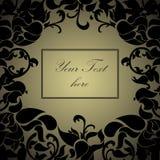 Struttura floreale del gold&black di lusso con testo Immagini Stock Libere da Diritti