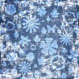 Struttura floreale del tessuto del grunge blu Immagine Stock