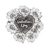 Struttura floreale di progettazione di vettore con grande cuore Anemone lineare Partecipazione di nozze disegnata a mano Concetto illustrazione vettoriale