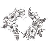 Struttura floreale di progettazione di vettore con grande cuore Rose lineari, eucalyptus, bacche, foglie Partecipazione di nozze  illustrazione vettoriale