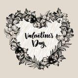 Struttura floreale di progettazione di vettore con grande cuore Rose lineari, eucalyptus, bacche, foglie Partecipazione di nozze  royalty illustrazione gratis