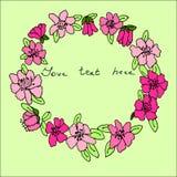 Struttura floreale luminosa, clipart floreale disegnato a mano della struttura Fotografia Stock Libera da Diritti