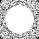 Struttura floreale ornamentale con spazio per testo, il modello della cartolina d'auguri o la pagina del libro da colorare, cerch Immagini Stock