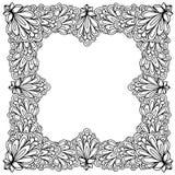 Struttura floreale ornamentale con spazio per testo, il modello della cartolina d'auguri o la pagina del libro da colorare, cerch Fotografia Stock