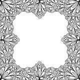 Struttura floreale ornamentale con spazio per testo, il modello della cartolina d'auguri o la pagina del libro da colorare, cerch Fotografia Stock Libera da Diritti