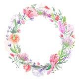 Struttura floreale romantica della corona illustrazione di stock