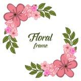 Struttura floreale rosa di progettazione dell'illustrazione di vettore con le foglie verdi illustrazione vettoriale