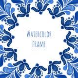 Struttura floreale tradizionale blu nello stile russo del gzhel o nello stile dell'Olanda Modello di vettore con la decorazione d illustrazione di stock