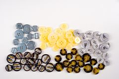 Struttura, fondo, modello Bottoni per i vestiti Ciò è un passo Fotografia Stock