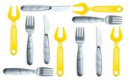 Struttura - forcelle e coltelli differenti dei bambini Immagini Stock