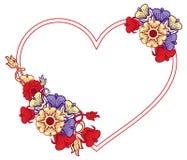 Struttura in forma di cuore con i fiori decorativi Immagine Stock Libera da Diritti