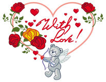 Struttura in forma di cuore con le rose rosse e l'orsacchiotto Clip AR del quadro televisivo Immagine Stock