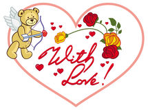 Struttura in forma di cuore con le rose rosse e l'orsacchiotto Clipart del quadro televisivo Immagine Stock Libera da Diritti