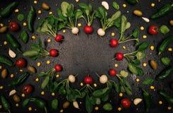 Struttura fresca del ravanello su fondo nero Fotografia Stock Libera da Diritti