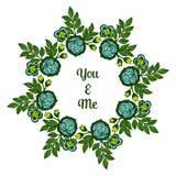 Struttura frondosa verde del fiore di arte dell'illustrazione di vettore con la carta voi e me illustrazione di stock