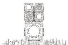 Struttura futuristica del grattacielo della città della megalopoli Immagine Stock