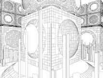Struttura futuristica della città della megalopoli Immagine Stock Libera da Diritti