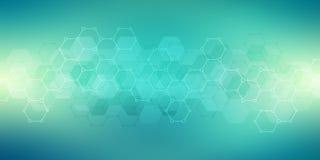Struttura geometrica del fondo con le strutture molecolari e l'ingegneria chimica Fondo astratto del modello di esagoni illustrazione vettoriale