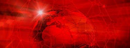 Struttura globale astratta del collegamento sul raggiro del fondo di colore rosso Fotografia Stock