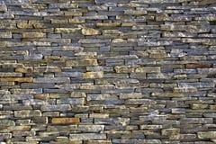 Struttura impilata della parete di mattoni dell'ardesia Immagini Stock Libere da Diritti
