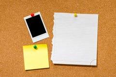 Struttura istantanea in bianco della foto sul pannello di sughero Fotografie Stock Libere da Diritti