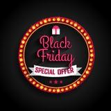 Struttura leggera di offerta speciale di Black Friday retro Fotografia Stock Libera da Diritti