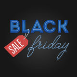 Struttura leggera di vendita di Black Friday retro Progettazione al neon Illustrazione Vettoriale