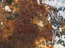 Struttura a macroistruzione - metallo - vernice arrugginita della sbucciatura Fotografia Stock Libera da Diritti