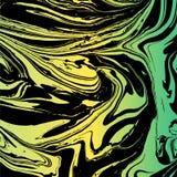 Struttura marmorizzata di vettore Fondo fatto a mano Colori verdi e gialli illustrazione di stock