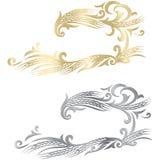 Struttura matura delle orecchie del grano dell'argento e dell'oro, confine o elemento d'angolo Fotografie Stock