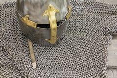 Struttura medievale della posta dell'armatura del ` s del cavaliere Struttura di chainmail di un cavaliere medievale dell'armatur Immagine Stock