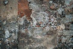 Struttura mista della pietra, del calcestruzzo, del cemento e dei mattoni Fotografia Stock