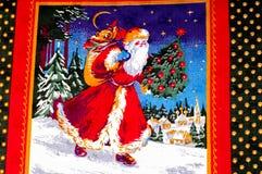 Struttura, modello cartoline di Natale del tessuto Prepari per uno del Fotografia Stock Libera da Diritti